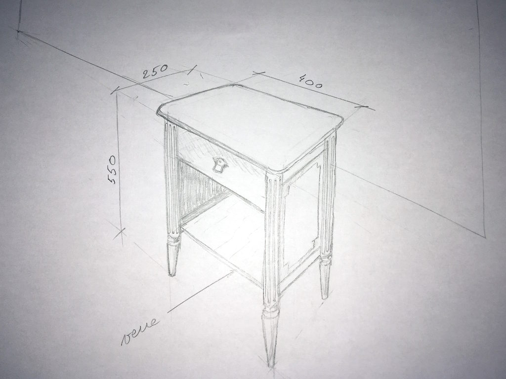 dessin table de nuit